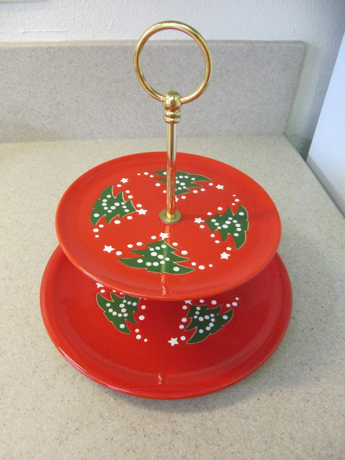 Vintage waechtersbach christmas tree 2 tier snack tray by for Christmas tree tray floor