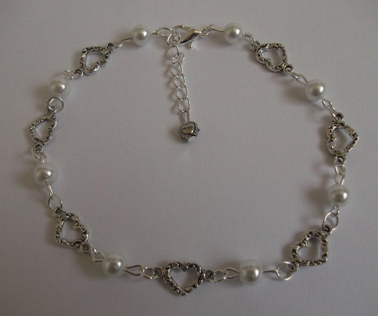 Pearl anklet heart anklet ankle bracelet ankle chain bridal anklet bridal jewellery prom anklet white pearl anklet beach anklet