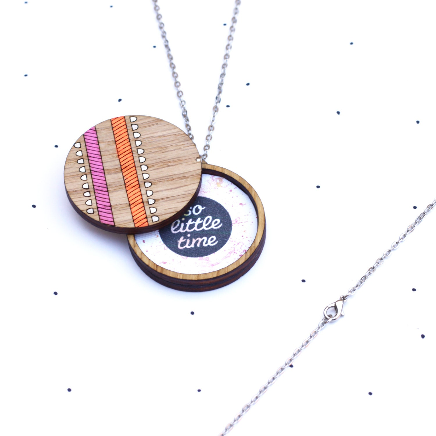 Wooden Photo Locket Neon Geometric