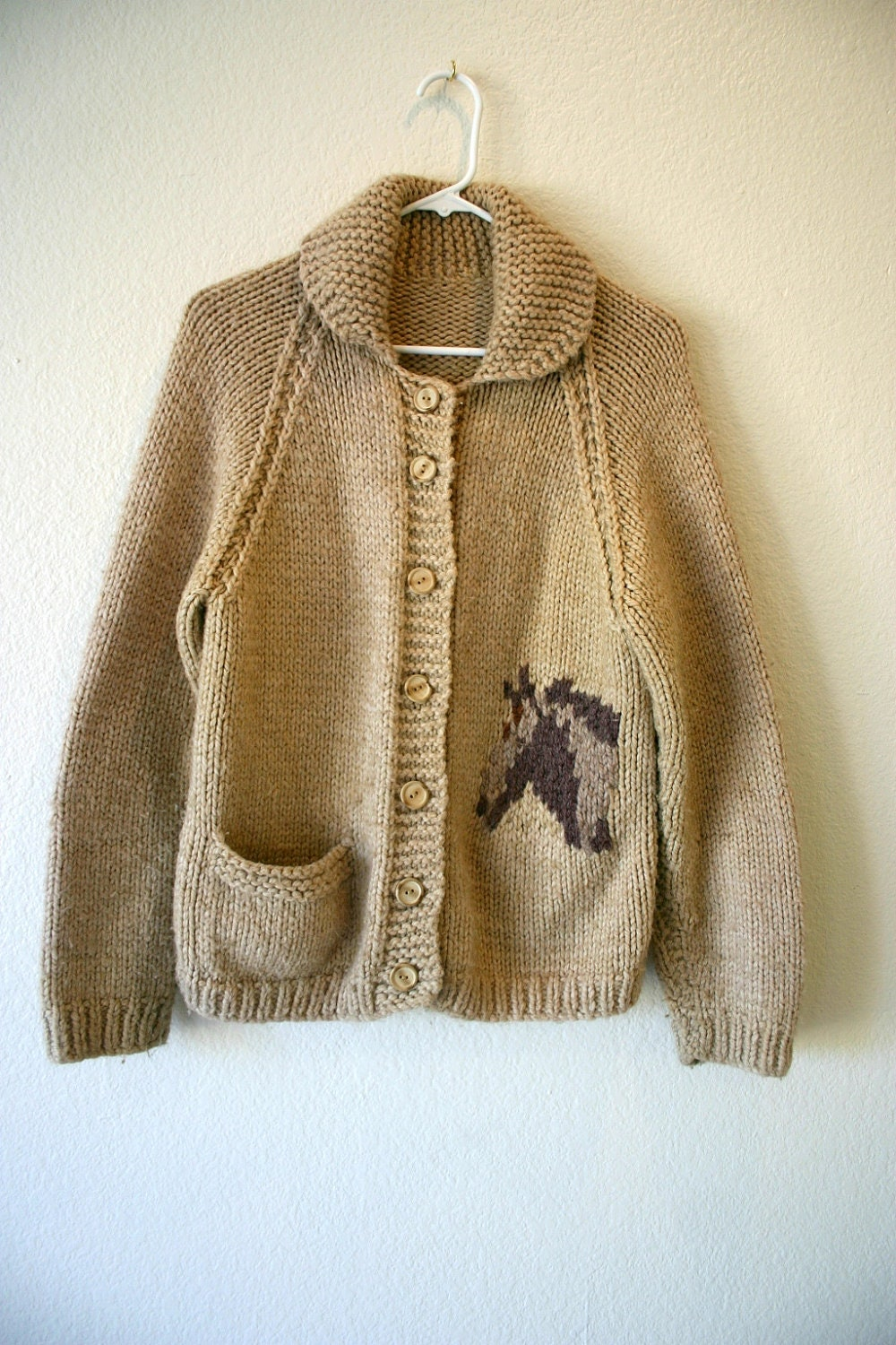 Vintage Chunky KNIT Horse Pattern button up by ...