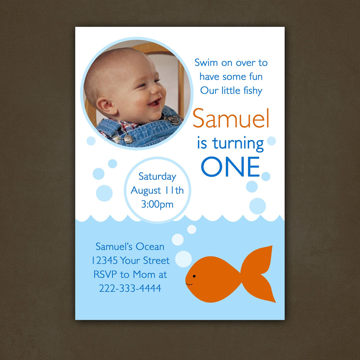 Fish birthday party invitation printable file by for Fishing birthday invitations