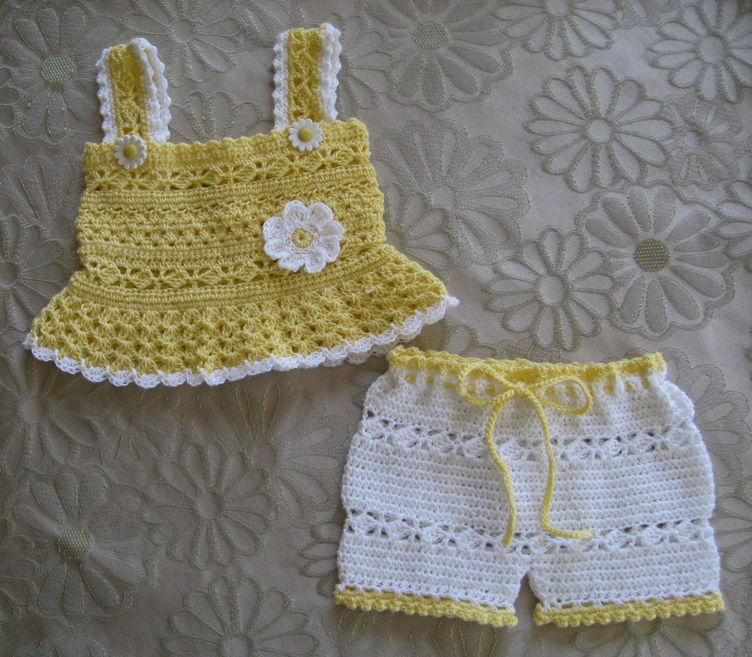 Free Crochet Patterns On Etsy : Crochet Pattern for Daisy Tank and Shorts by ...