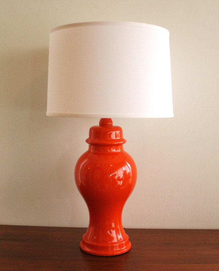 Vintage Orange Ceramic Ginger Jar Table Lamp By