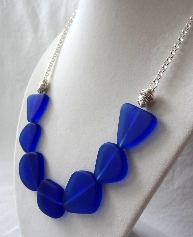 cobalt blue sea glass statement necklace with wire by