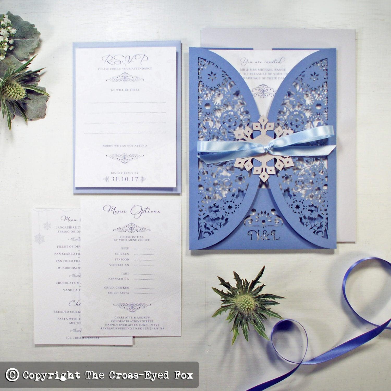 Laser cut wedding invitation Wedding suite  Winter wedding stationery jacket December wedding Christmas snowflake wedding invite