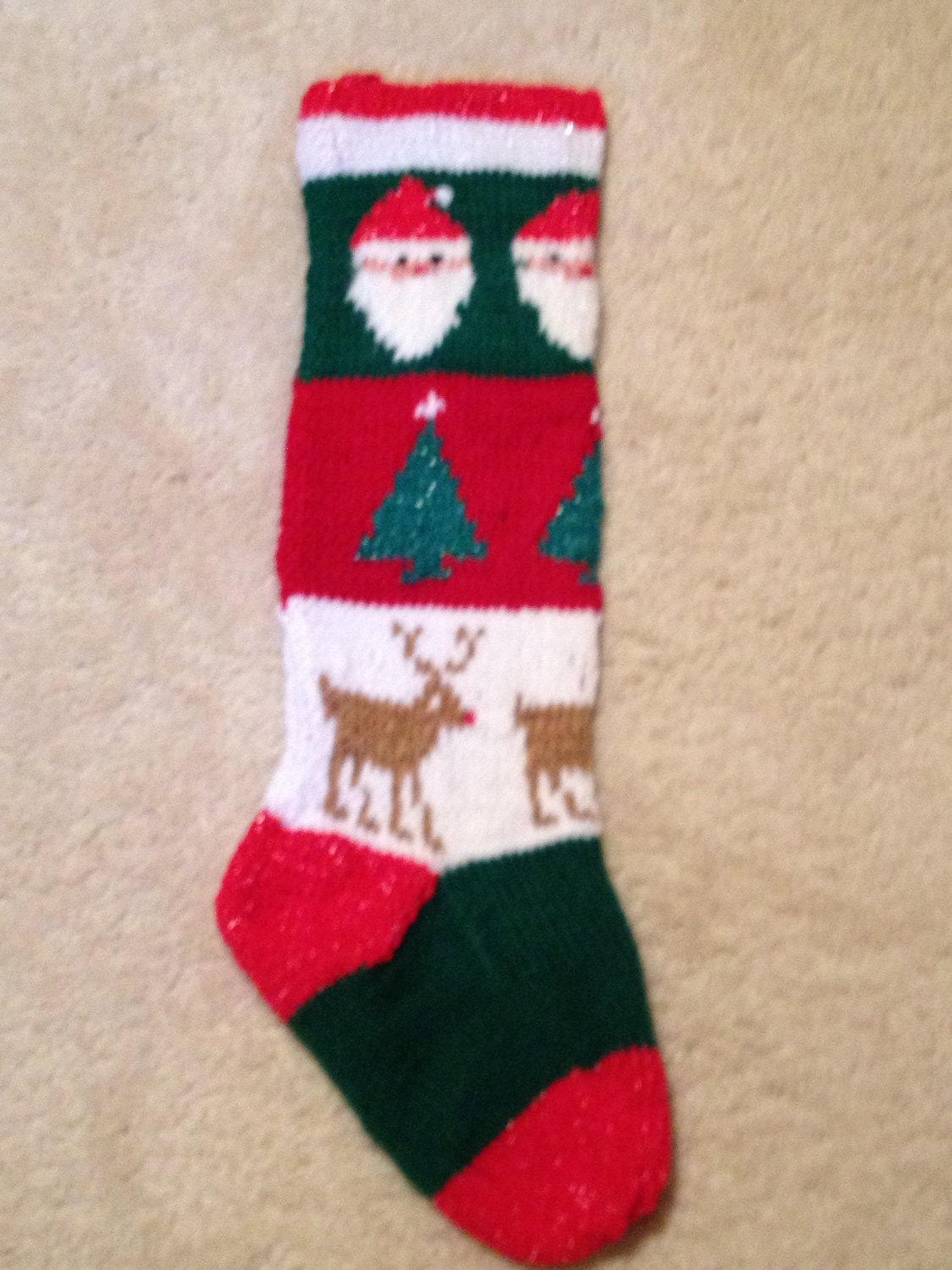 Hand Knit Christmas Stocking: Santa Claus by ByTheChimneyWithCare