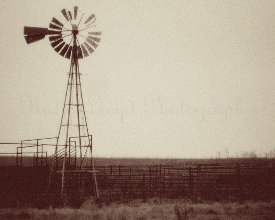 Kansas Windmill in the Flint Hills - 8x10 Fine Art Vintage Style Photography Print - Old Fashioned Sepia Photo of a Windmill in the Midwest
