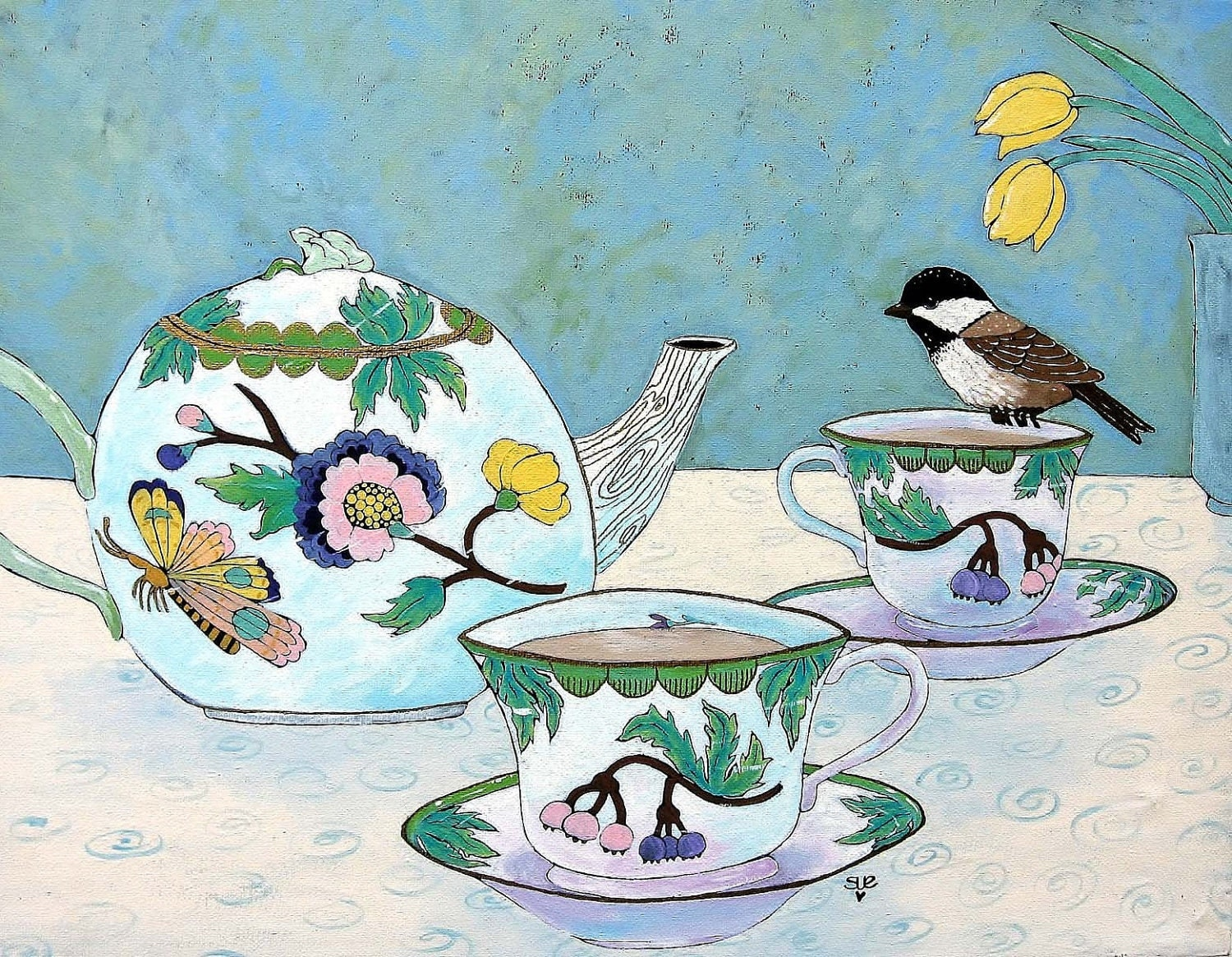 Archival Quality Print of Original Art Chicadee, Tea, Bird, Tea Pot, Tea Cup, Flowers, Butterfly - digiliodesigns