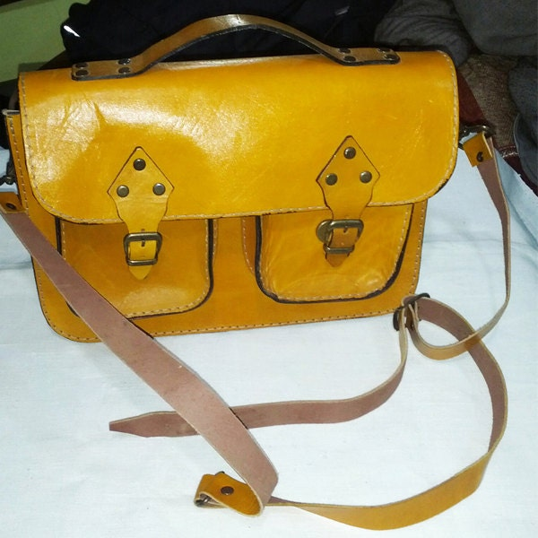 Yellow Leather Tote/ Shopping bag/ iPad Bag/ Shoulder Bag/ Woman bag/ Leather Satchel/ Minibook bag - perimelodi