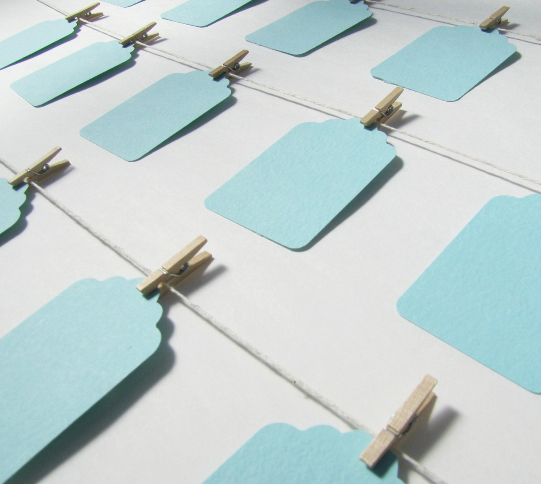 100 Tiffany Blue Wedding Favor Tags by Kiwi Tini Creations