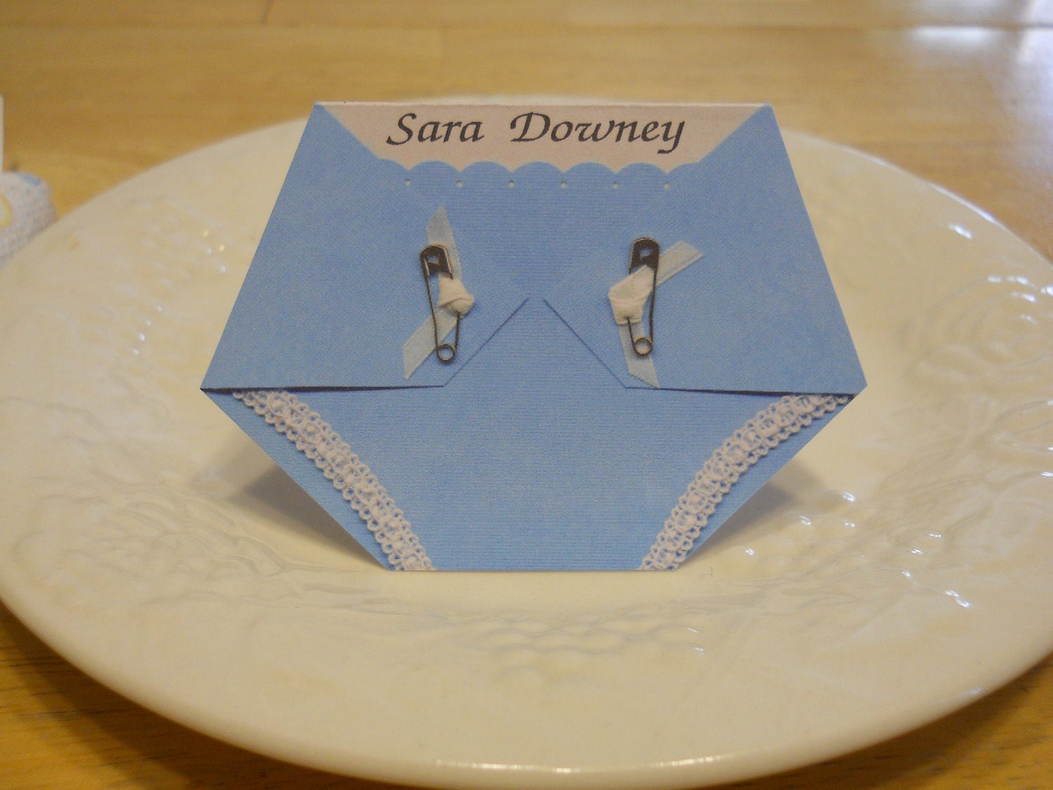 diaper shaped place card for baby shower by kardsbykaylee on etsy
