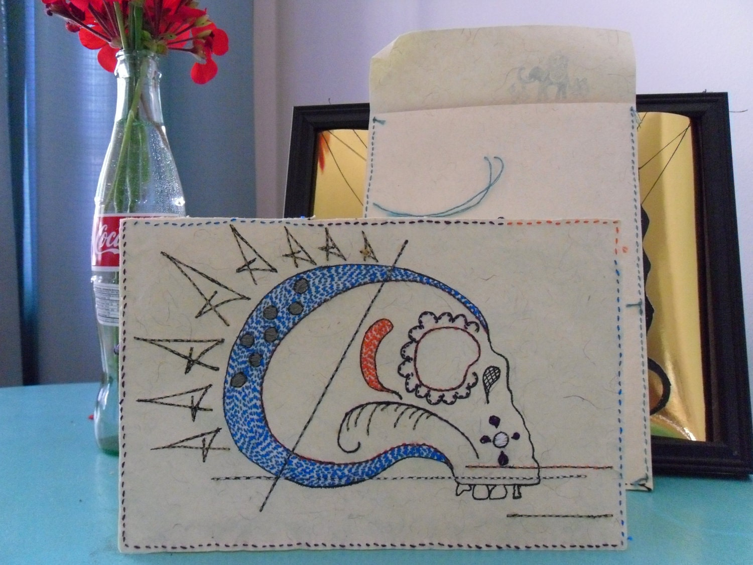 "Embroidered skull card ""Bug"""
