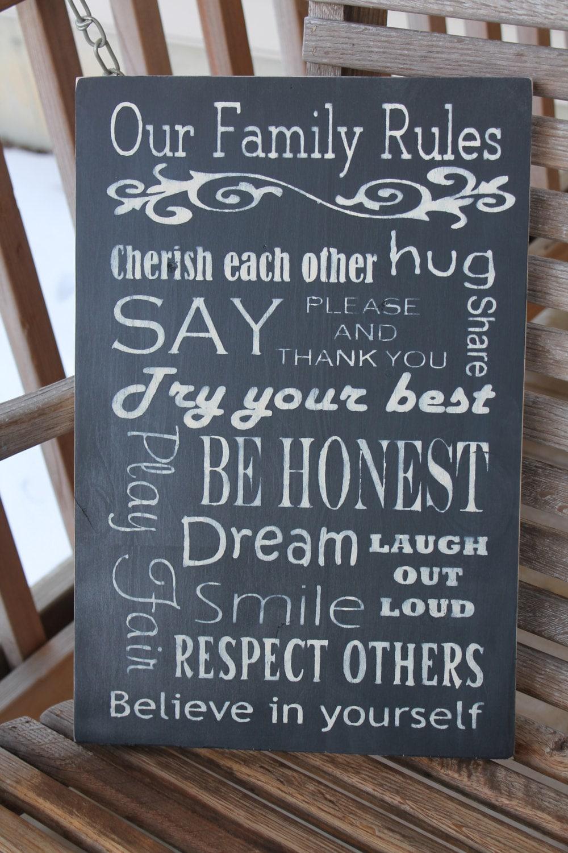 Items Similar To Family Rules Sign Subway Sign Wood Family Values Kitchen Playroom Wall Art