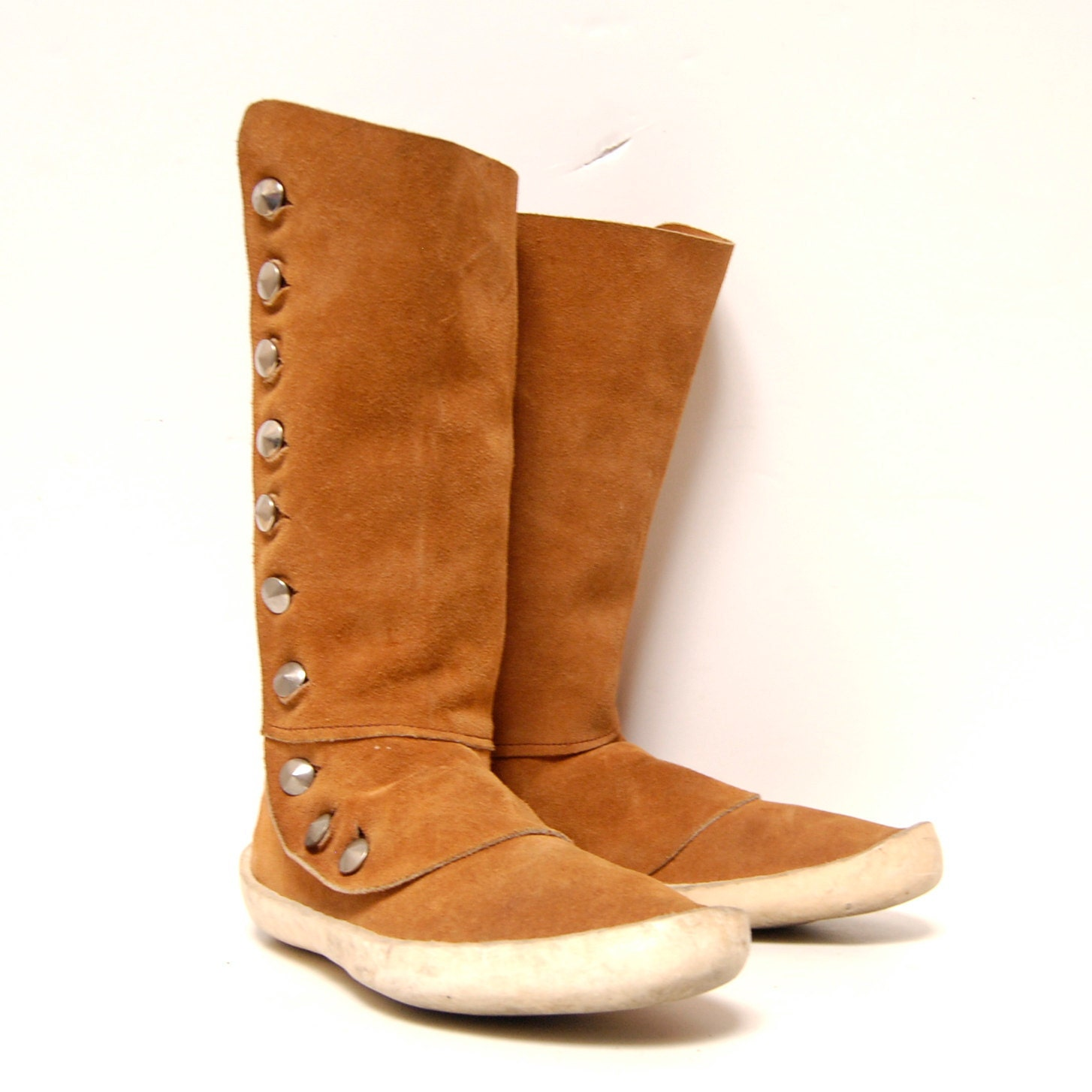 size 10 MOCCASIN tan leather 70s HANDMADE silver metal BUTTONS midcalf boots - 20twentyvintage