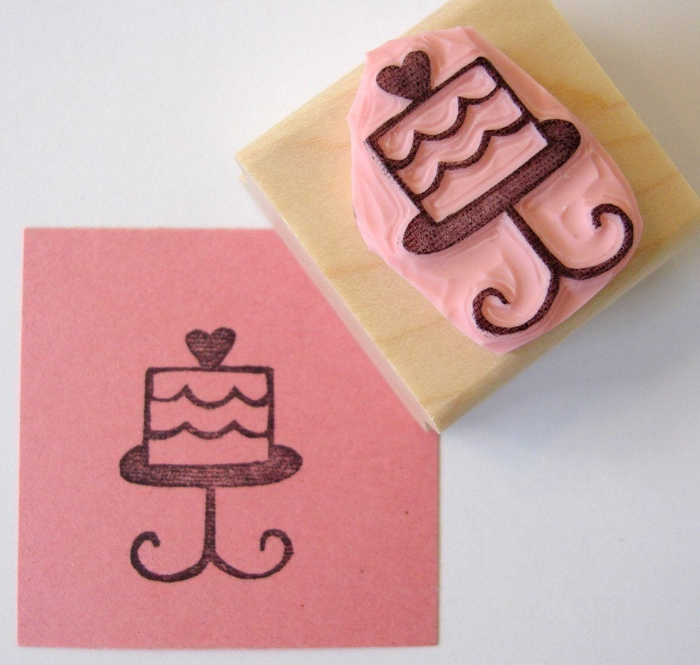 Birthday cake hand carved rubber stamp by cupcaketree on etsy
