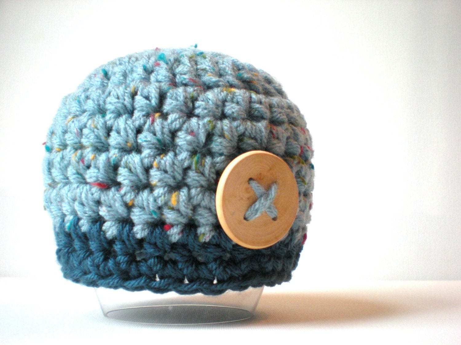 READY TO SHIP- baby boy button beanie, blue tweed and dark teal, chunky hat, size 0-3m, with wooden button accent - swellamy