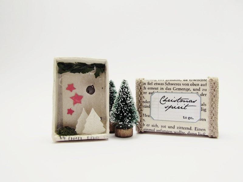 Handmade shadow box frame -Christmas spirit to go No2- Joy in a matchbox
