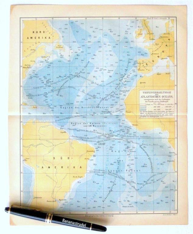 pacific ocean depth map  1877 German Antique Map