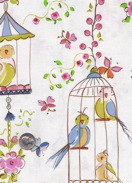 New half yard dena designs leanika lovebirds and by mineymo for Dena designs tea garden fabric