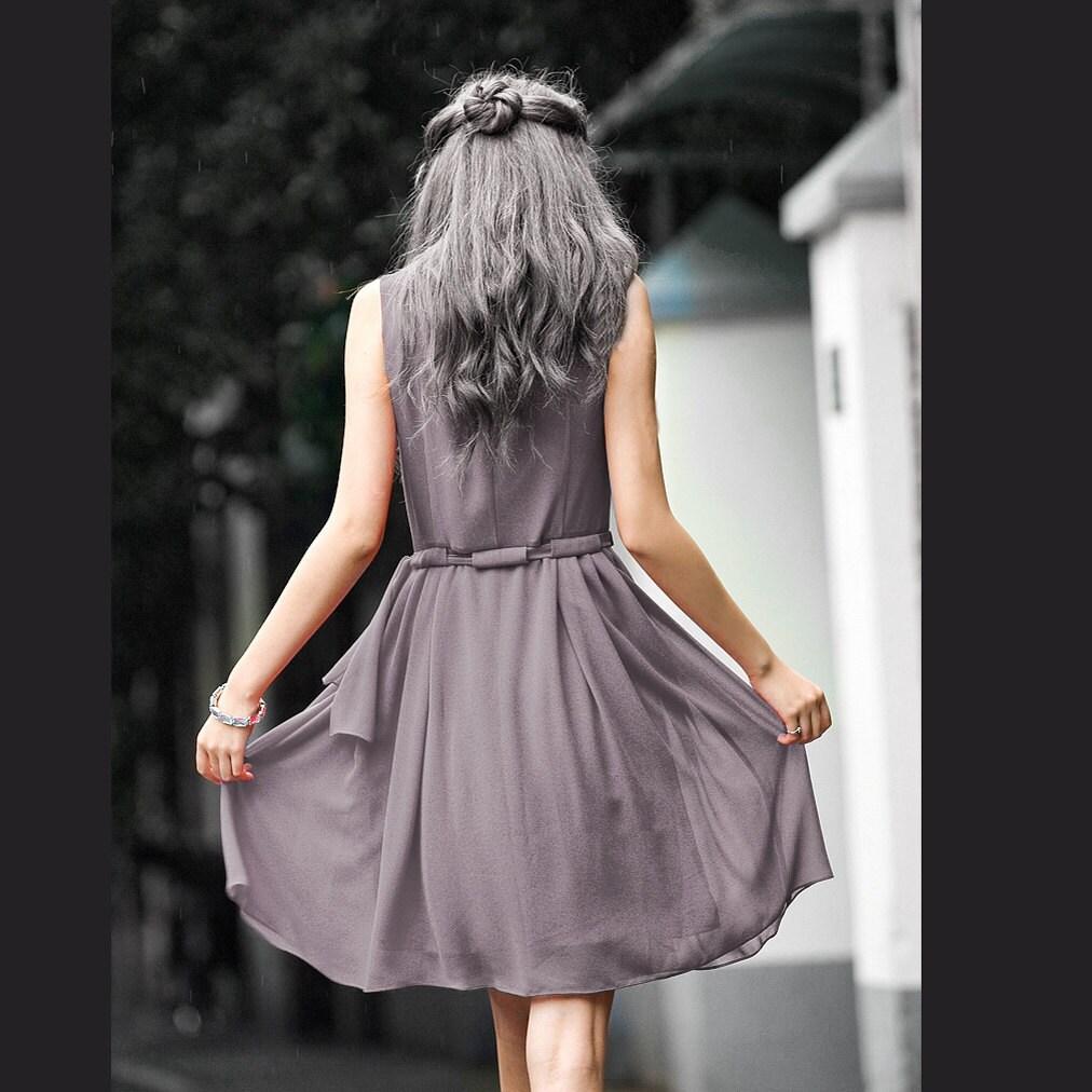 JS131 Cute silk spring dress in gray - JulyS