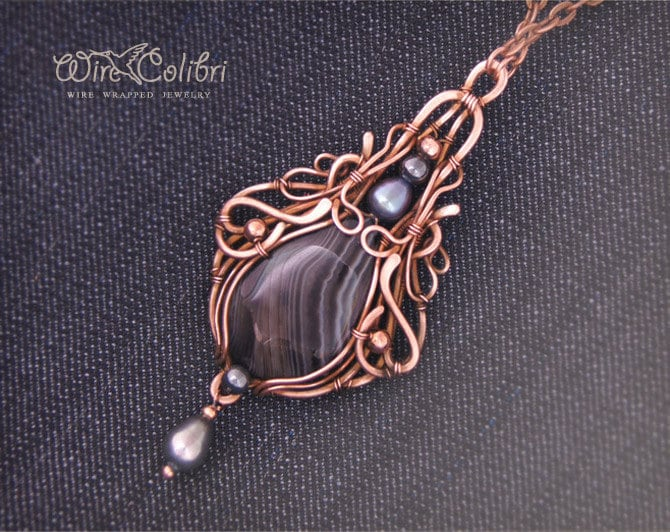 Black agate stone pendant necklace wire wrapped by wirecolibri for Unique stones for jewelry making