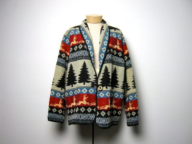 Vintage holiday blazer with trees and reindeer
