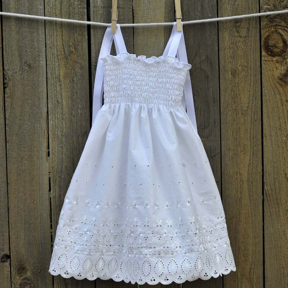 Fancy Vintage White Flower Girl Dress By SageNThymeDesigns