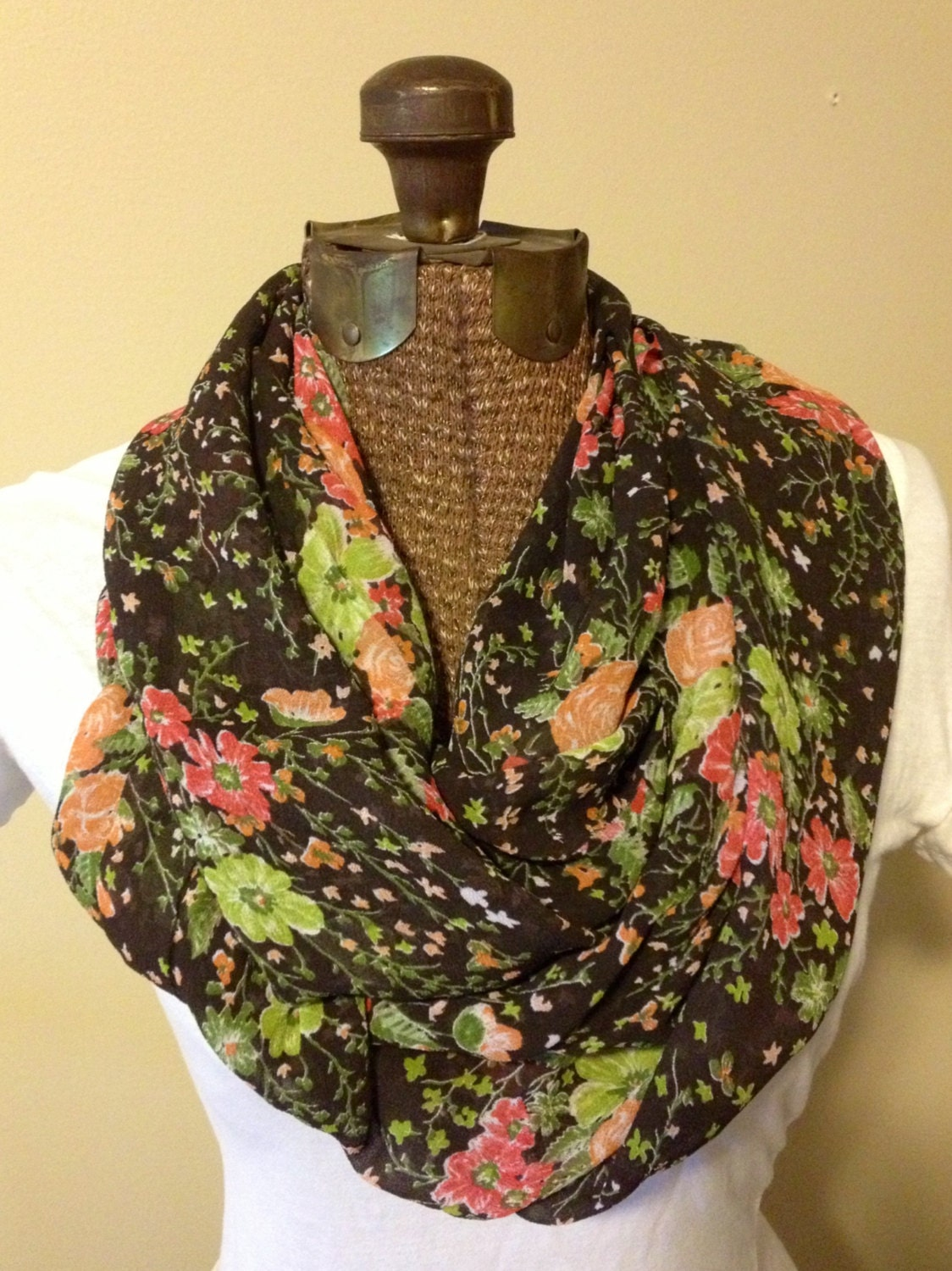 Brown Floral Eternity Scarf
