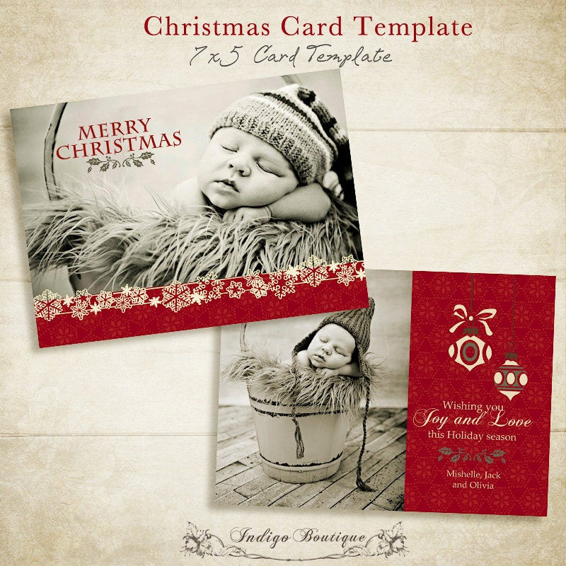 Items similar to christmas card template 5x7 photo card template for photographers and for Holiday cards templates for photographers