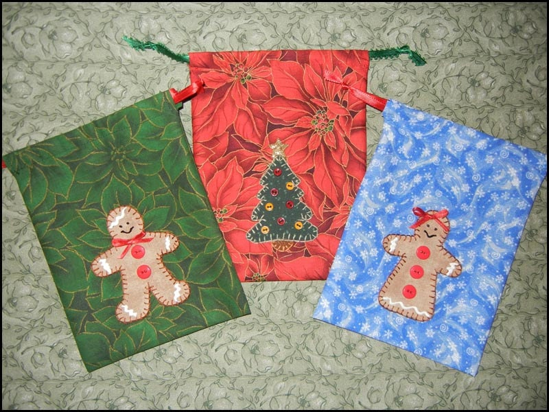 PDF Pattern for Christmas Treat, Favor, Gift Bags, Tutorial, DIY