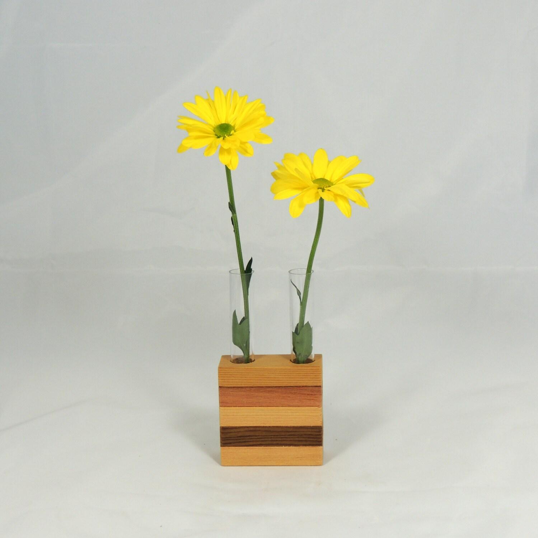 Test Tube Vase Cedar Block Mini Vase