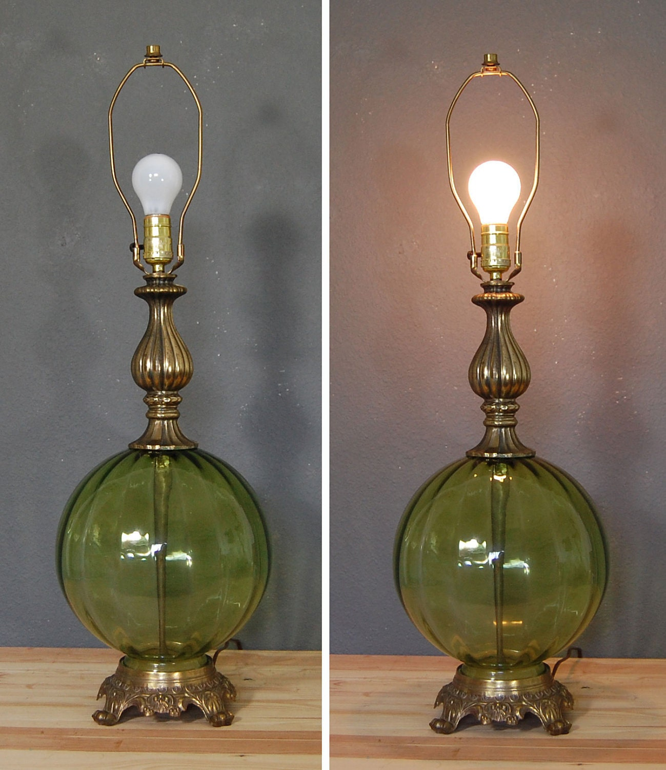 Vintage Table Lamp Green Glass Lamp By Naturalstatevintage