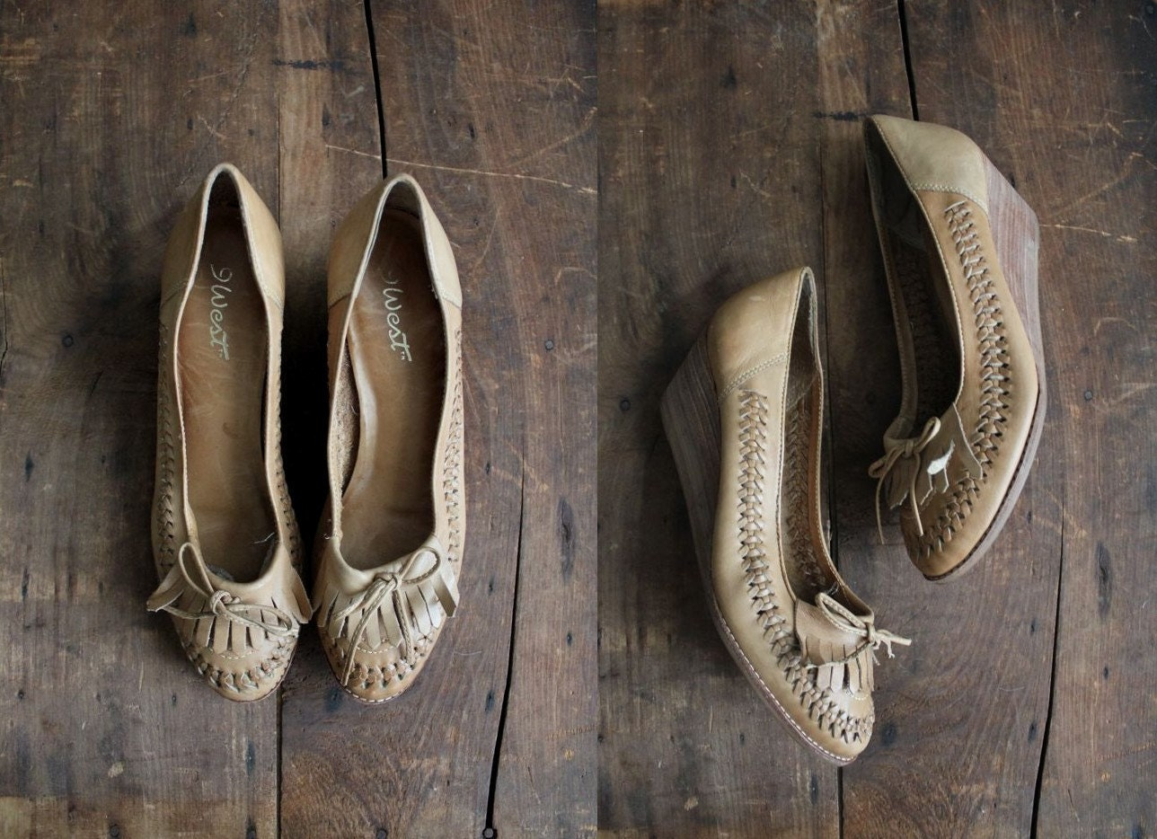 1970s vintage nut braided leather wedges 8 - allencompany