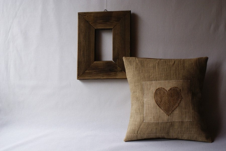 Valentine's Day Pillow Small decorative pillow One Heart 12 x 12 inch MADE TO ORDER - annakrycz