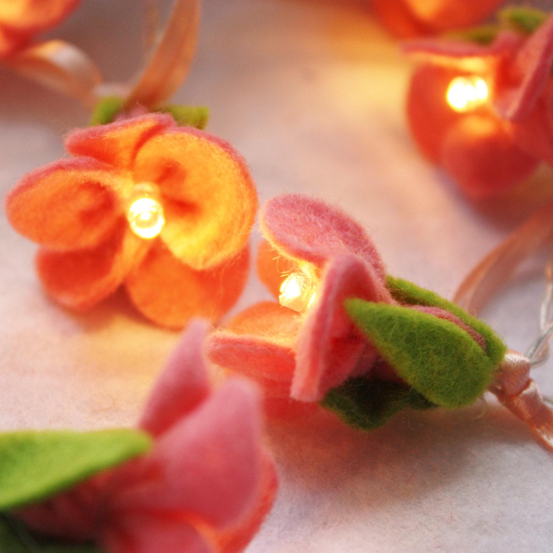 Cherry Blossom Fairy Lights, night light, romantic lights, pink felt, festive lights - ButtonOwlBoutique