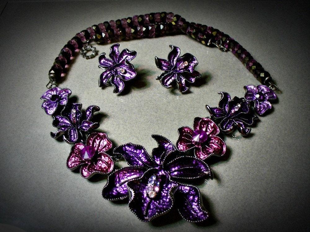 Purple Orchid Necklace Set