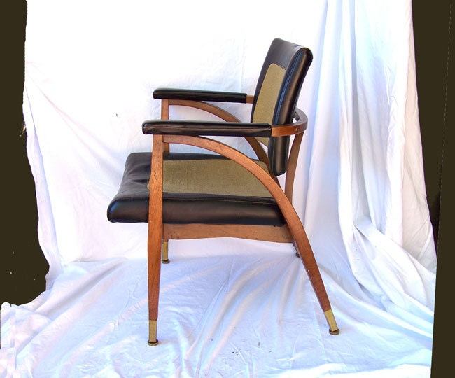 Mid century office chair boling chair black leather tweed soaring
