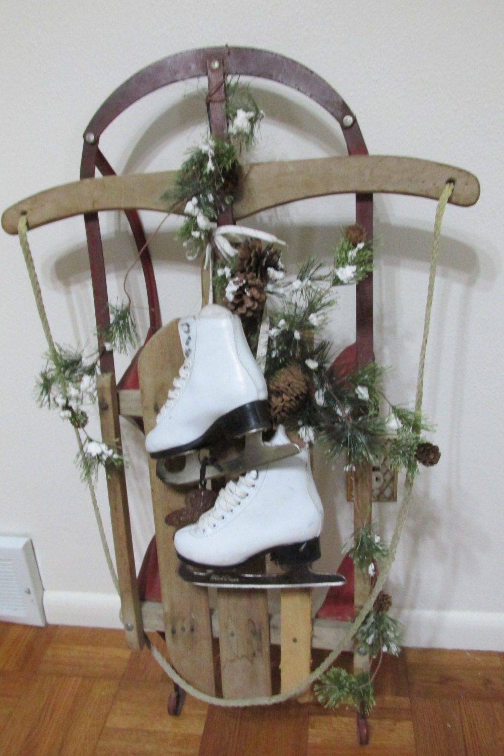 Items similar to vintage sled and ice skates winter decor for Antique sled decoration