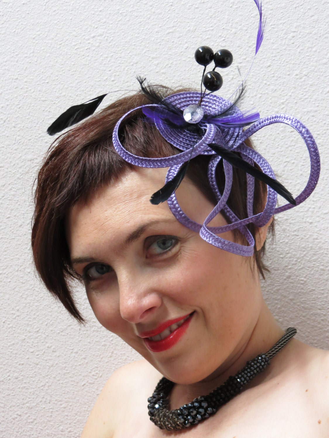 Fascinator purple - lavender fascinator hat cocktail fascinator MY LOVELY - FascinatorsFirst
