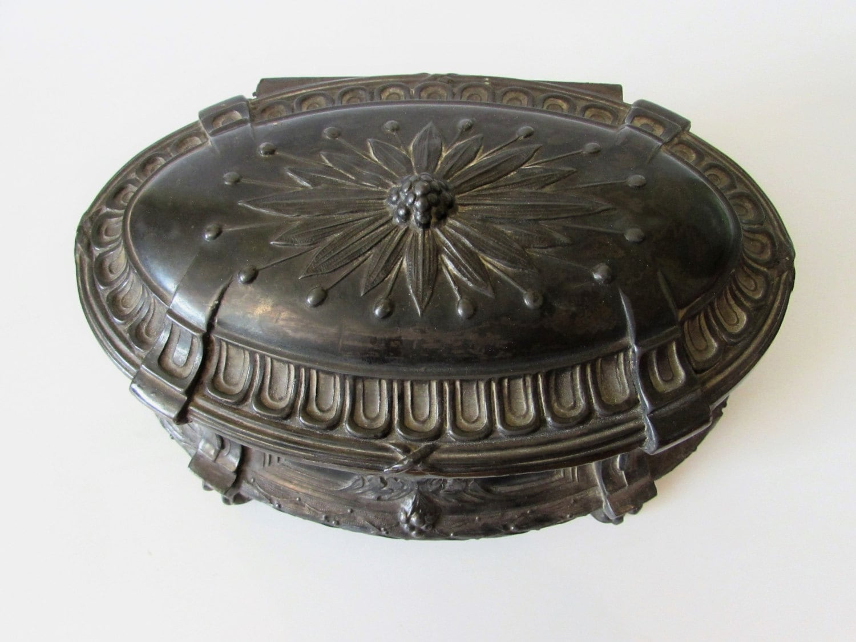 Stunning Antique (Victorian) Pressed Embossed Pewter Lidded Casket Jewellery Trinket Storage Box   MEMsArtShop