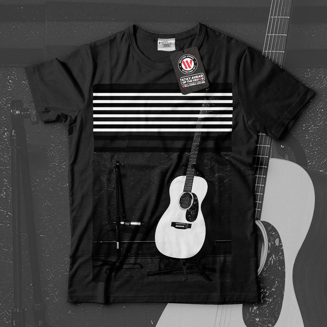 Acoustic Guitar Music Instrument Men Black White Grey Red Royal Blue Tshirt S5XL NEW  Wellcoda q898