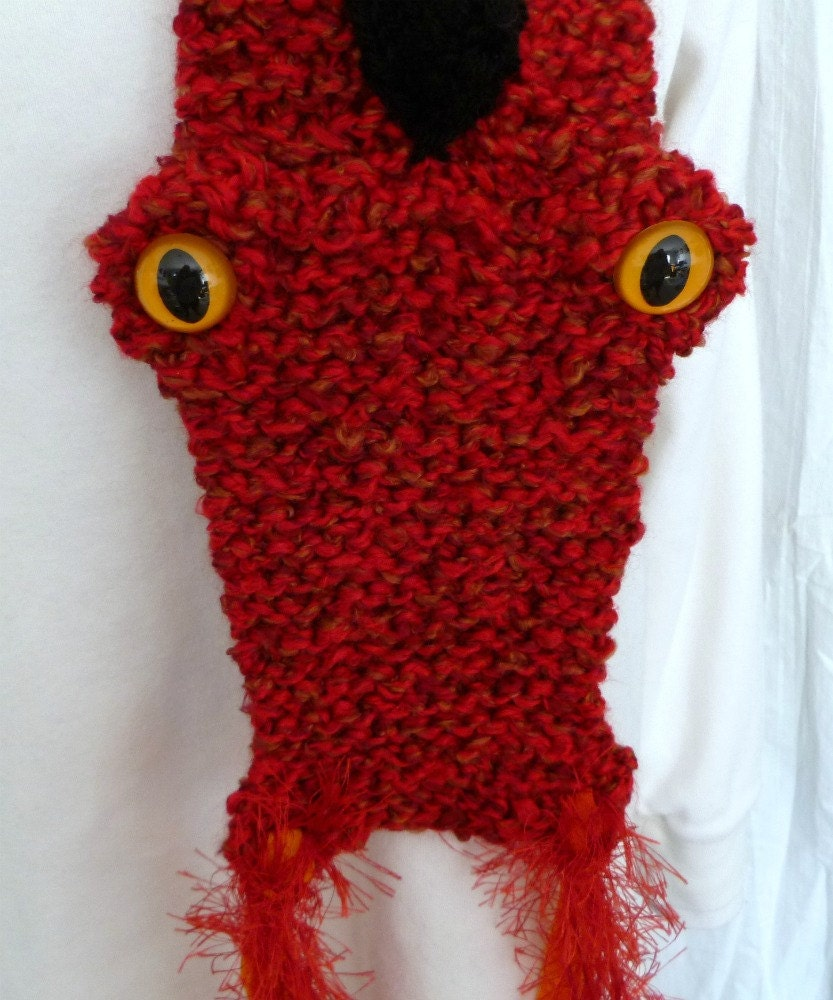 Knitting Pattern For Dragon Scarf : Knit Dragon Scarf Red with Black Spikes by LifeIsAJourney50