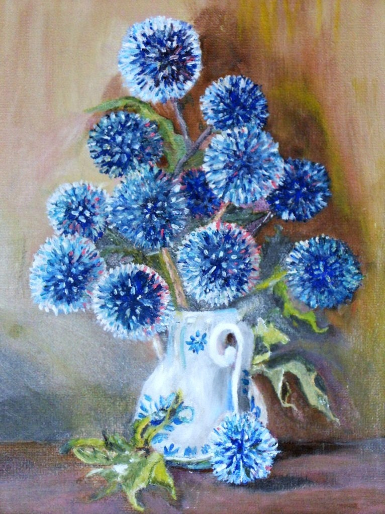 Blue Flowers Oil Painting Puff Balls Flower Picture By
