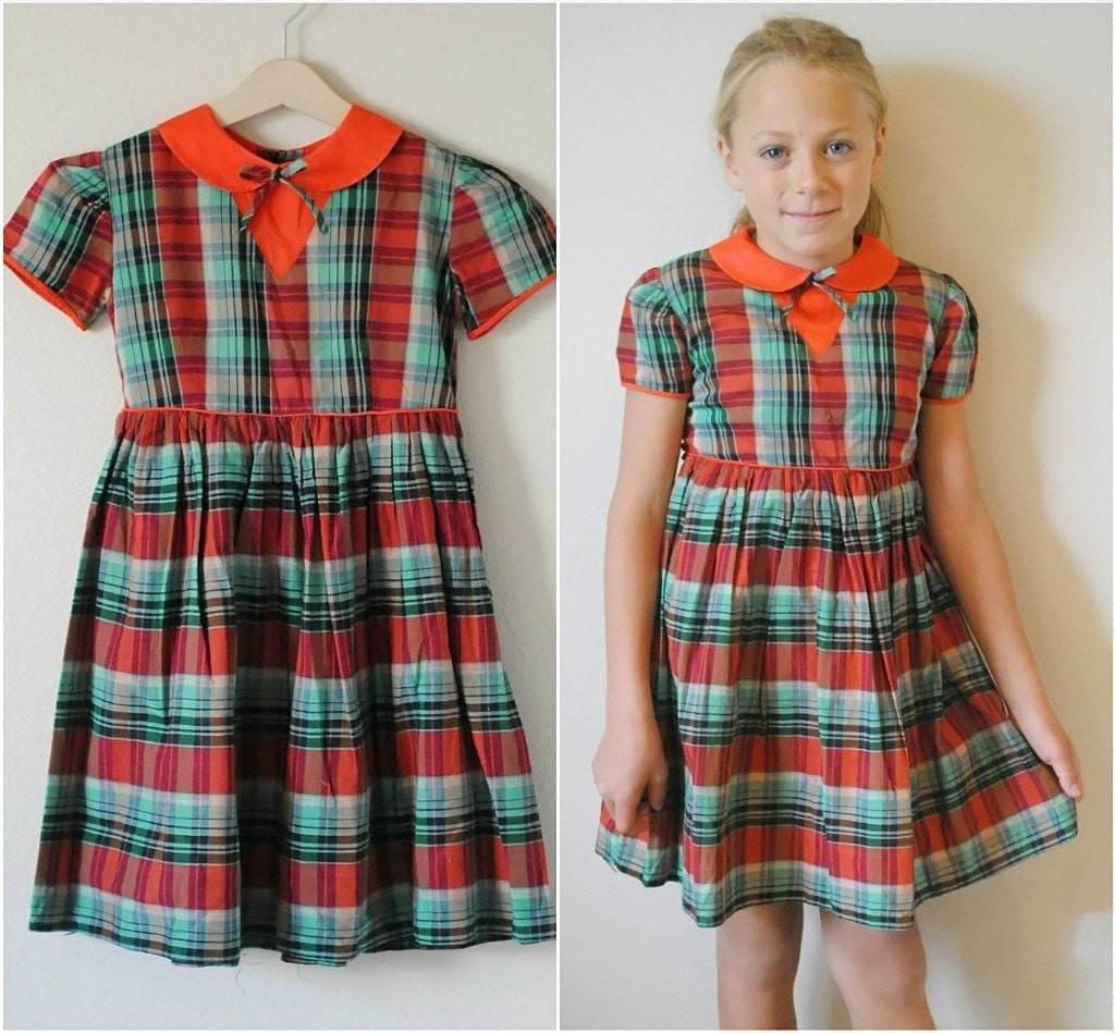 Vintage girl 1950 s dress red green plaid size 6 7 by hartandsew