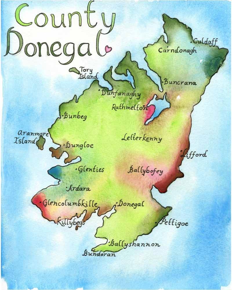 Map Art Ireland Map County Donegal Ireland Fine Art