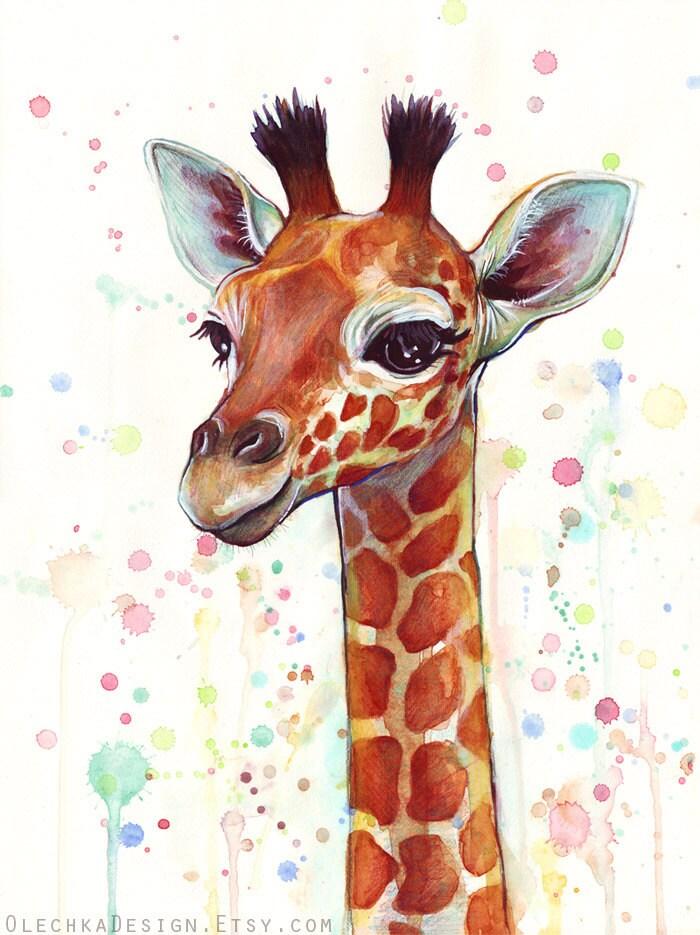哺乳动物 长颈鹿 水彩_哺乳动物 长颈鹿 水彩