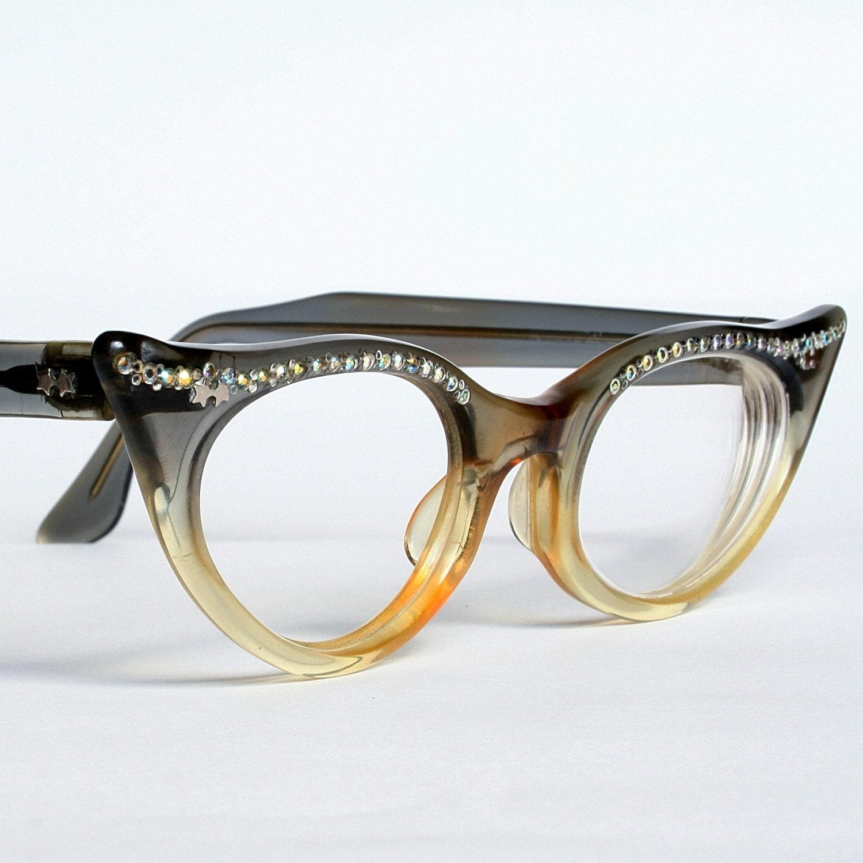 Cat Eye Rhinestone Eyeglass Frames : Amber Grey Fade Rhinestone Cat Eye Glasses by ...