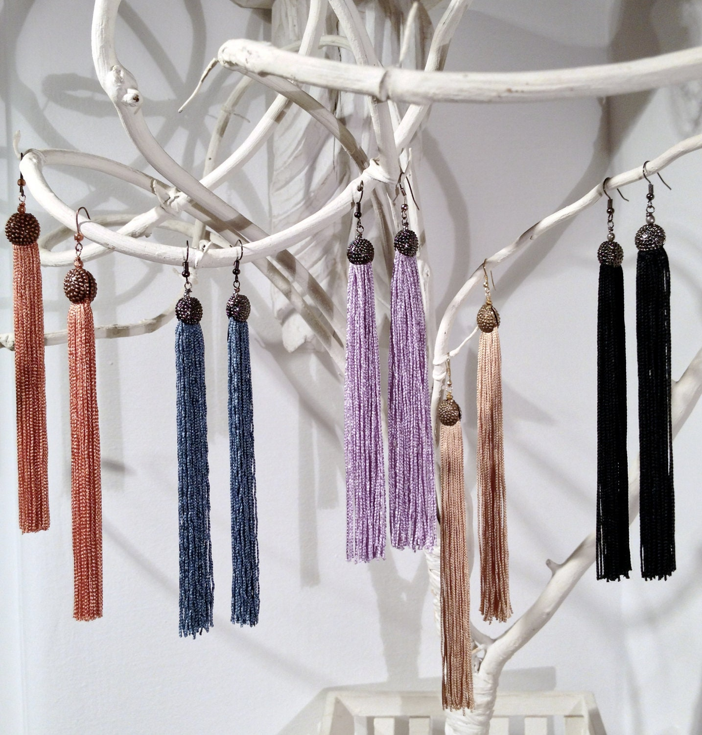 earrings with black fringe and balll burnished silver