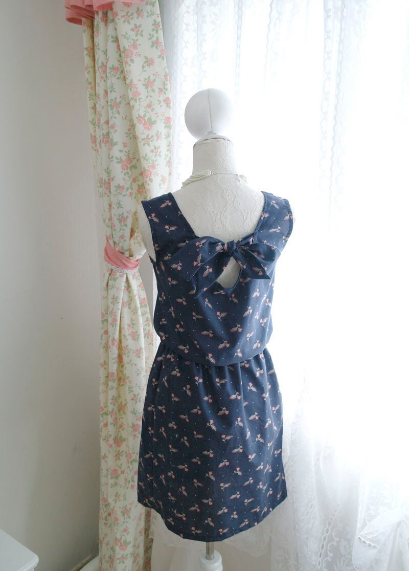 Dark Night Blue Navy Floral Low Back Bow Tie Summer Tea Dress SunDress Sleeveless Tunic Pleated Vintage Inspired / Made to order / Plus size - miadressshop