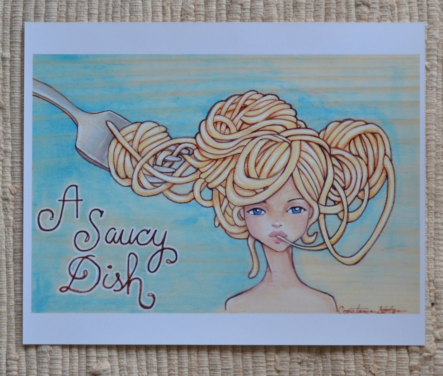 A Saucy Dish- Photographic Print of Pasta Girl 8x10